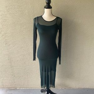 Forever 21 Green Long Sleeve Body Con Dress